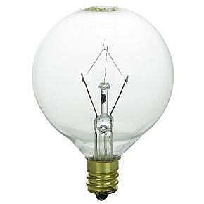 40 Watt G16.5 Globe Bulb, Candelabra Base, Clear