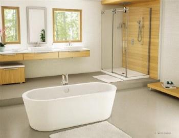 Aria Adagio White Freestanding Tub 68X31 with Brushed Nickel Drain & Overflow