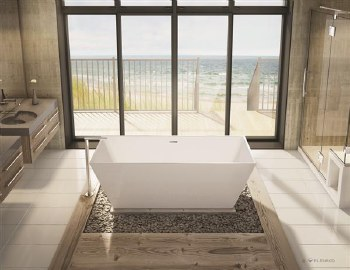 Aria Calando White Freestanding Tub 68X29 with Chrome Drain & Overflow