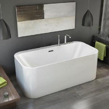 Aria Celesta Freestanding Tub White 63X31.5 With Chrome Drain & Overflow