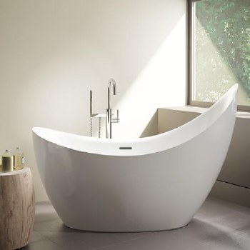 Aria Crescent Grande Freestanding Tub White 79X31.5 With Brushed Nickel Drain & Overflow