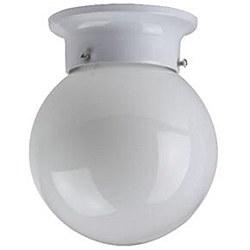 "6"" Decorative Globe Style Ceiling Fixture, White Finish, White Glass"