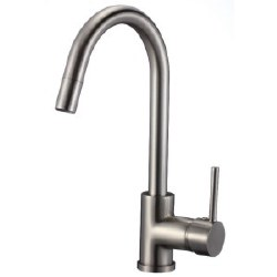 Round Kitchen Faucet, in Satin Nickel Finish