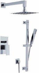 Cubic 6pc Complete Shower Set with Hand Shower in Polished Chrome