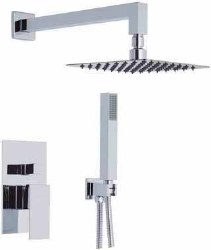 Cubic 5pc Complete Shower Set with Hand Shower Mount in Polished Chrome