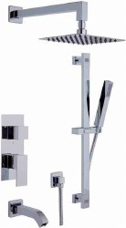 Cubic 6pc Complete Tub/Shower Set with Handshower in Polished Chrome