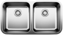 Stellar Equal Double Bowl Undermount Kitchen Sink 33-1/3X18-1/2""
