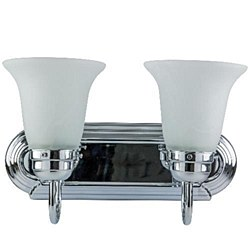 Sunlite 2 Lamp Vanity Decorative Sconce Fixture, Chrome Finish, Frosted Glass, B214U/CH/FR