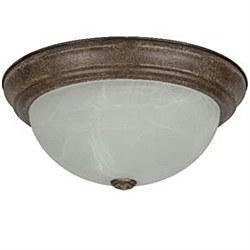 "Sunlite 13"" Decorative Dome Ceiling Fixture, Distressed Brown Finish, Alabaster Glass, DDB13/AL"