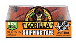 Gorilla Tough & Wide Shipping Tape, 2 Roll Refill Pack, Total 2.83in. X 60 yd.