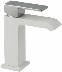 Waterfall Single Hole Faucet in Matte White/Polished Chrome finish