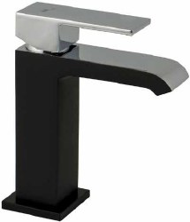 Waterfall Single Hole Faucet in Matte Black/Polished Chrome finish
