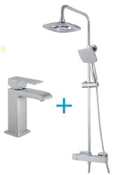MZ Waterfall Thermostatic Column and Lavatory Faucet Combo, in Chrome