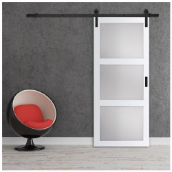 Barn Door, 36 in W Door, 84 in H Door, 1-3/8 in Thick Door, Bright White Door, BD061W01BW3TGE360