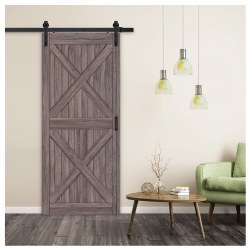 Barn Door, 36 in W Door, 84 in H Door, 1-3/8 in Thick Door, Gunstock Door, BD060W01GO1GOE360