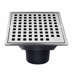 "Lagos Mira Square Shower Drain 4"" in Chrome finish"