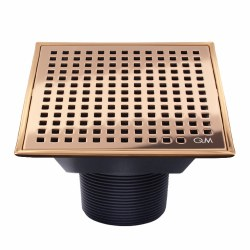 "Lagos Mira Square Shower Drain 4"" in Bronze finish"
