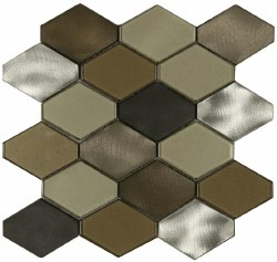 """Victoria Metals Hexy Falls Creek Blend Etched Metal and Polished Glass on 10-3/4X11"""" Sheet"""