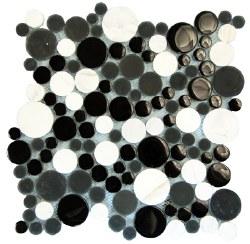 Agata Circle Black and White Mosaic on 12.2X12.2 Sheet