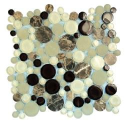 Agata Circle Emperador Mosaic on 12.2X12.2 Sheet