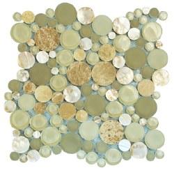 Agata Circle Shell Beige Mosaic on 12.2X12.2 Sheet