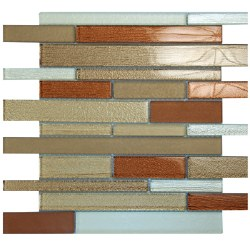 Anora Brown Glass Blend Mosaic on 12X12 Sheet