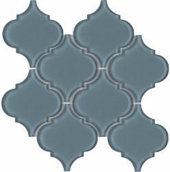 "Arabesque Blue Shining Glass Mosaic on 10X10.5"" Sheet"