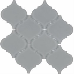 "Arabesque Grey Frosted Glass Mosaic on 10X10.5"" Sheet"