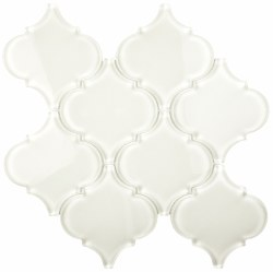 "Arabesque White Shining Glass Mosaic on 10X10.5"" Sheet"