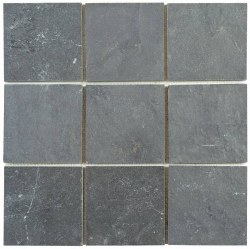 "Black Slate Mosaic 4X4"" on 12X12"" Sheet"