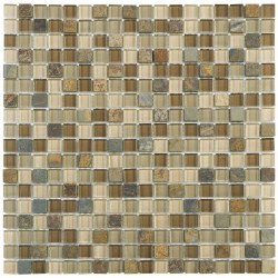 "Beige Brown Slate Glass 5/8X5/8"" on 12X12"" Sheet"