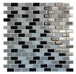 Basic Cross Black Glass and Stone Mosaic on 11.3X11.8 Sheet