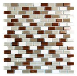 Basic Cross Brown Glass and Stone Mosaic on 11.3X11.8 Sheet