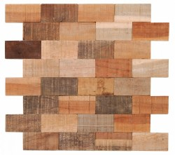 "Natural Wood Brick Interlocking Mosaic on 13X14.4"" Sheet"