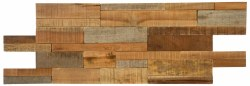 "Natural Wood Brick Mix Interlocking Mosaic on 21X8"" Sheet"