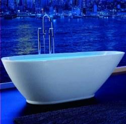 "Freestanding Acrylic Tub, 69"" x 32"" x 23"", in White"