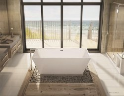Aria Calando White Freestanding Tub 68X29 with Brushed Nickel Drain & Overflow