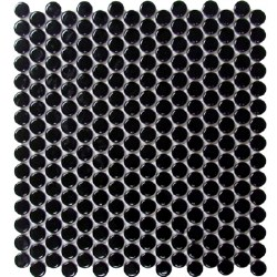 CC BG Black Bright Penny Round Mosaics on 12X12 Sheet, UFCC111-12M