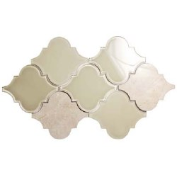 Clover Crema Glass and Stone Mosaic on 19X11.5 Sheet