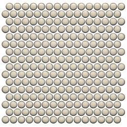 CC BG Cream Penny Round Mosaics on 12X12 Sheet, UFCC126-12M