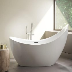 Aria Crescent Petite Freestanding Tub White 65X31.5 With Brushed Nickel Drain & Overflow