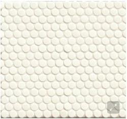 "360 White Gloss Penny Round Mosaics 3/4"" on 12X12 Sheet, DEC360WHI34G"