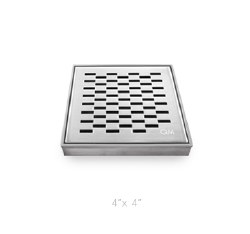 "Delmar Delta Square Shower Drain 4"", in Polished Finish"