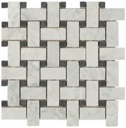 Daintree Exotic Basketweave Bianco Carra/ Nero Tumbled Marble, 12x12 sheet