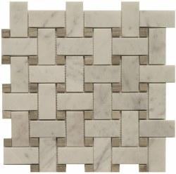 Daintree Exotic Basketweave Bianco Carra/ Graystone Polished Marble, 12x12 sheet