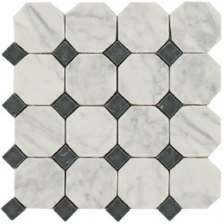 Daintree Exotic Octagon 3X3 Bianco Carrara/ Nero Tumbled Marble, 11x11 sheet