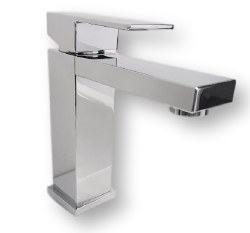 Milan Single Hole Square Bathroom Faucet in Polished Chrome