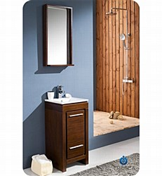 "Fresca Allier 16"" Wenge Brown Modern Bathroom Vanity w/ Mirror"