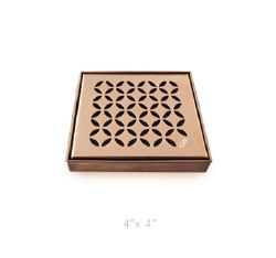 "Delmar Lotus Square Shower Drain 4"", in Bronze Finish"