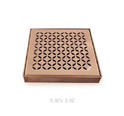 "Delmar Lotus Square Shower Drain 5-3/4"", in Bronze Finish"